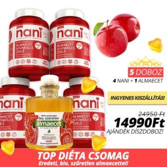 top diéta csomag almaecet gyümölcszselével és valódi bio szűretlen almaecettel